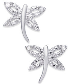 Diamond Dragonfly Stud Earrings (1/10 ct. t.w.) in Sterling Silver