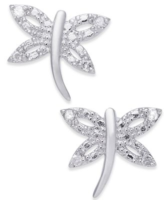 Diamond Dragonfly Stud Earrings 1 10 Ct T W In Sterling Silver