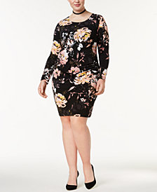 I.N.C. Plus Size Printed Ruched Sheath Dress, Created for Macy's