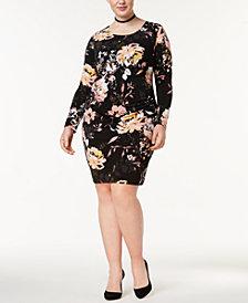 I.N.C. Plus Size Printed Ruched Sheath Dress, Created for Macy's