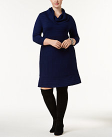 I.N.C. Plus Size Cowl-Neck Sweater Dress, Created for Macy's