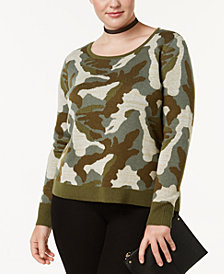 I.N.C. Plus Size Metallic-Camouflage-Knit Sweater, Created at Macy's