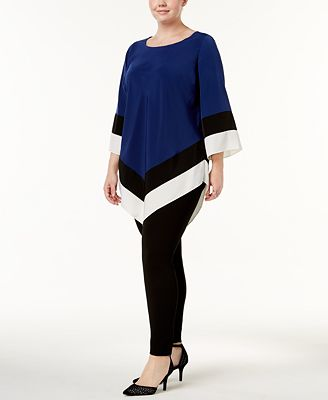 Alfani Plus Size Colorblocked V-Hem Top, Created for Macy's