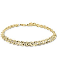 Double Row Twisted Heart Link Bracelet in 14k Gold
