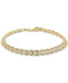 Double Row Twisted Heart Link Bracelet in 14k Gold