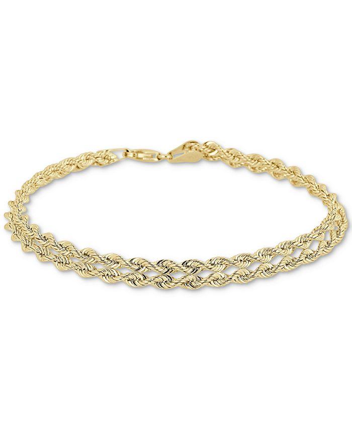 Macy's - Double Row Twisted Heart Link Bracelet in 14k Gold