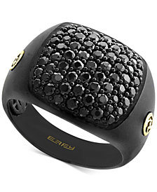 EFFY® Men's Black Sapphire Ring (2 ct. t.w.) in Black Rhodium-Plated Sterling Silver & 18k Gold