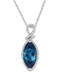 London Blue Topaz (4-1/2 ct. t.w.) & Diamond (1/5 ct. t.w.) Pendant Necklace in 14k White Gold