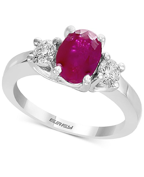EFFY Collection Gemstone Bridal by EFFY® Ruby (1-3/8 ct. t.w.) & Diamond (3/8 ct. t.w.) Engagement Ring in 18k White Gold