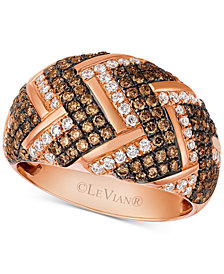 Le Vian Chocolatier® Diamond Chevron Dome Ring (1-1/5 ct. t.w.) in 14k Rose Gold