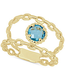 Swiss Blue Topaz Double Chain Statement Ring (1-1/10 ct. t.w.) in 14k Gold