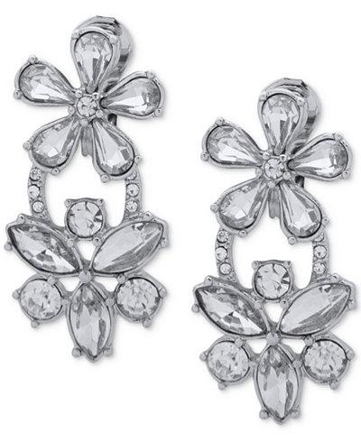 Anne Klein Rose Gold-Tone Crystal Flower Clip-On Double Drop Earrings