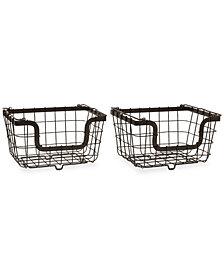 Gourmet Basics By Mikasa General Store Set of 2 Stacking Organization Baskets