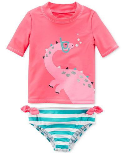 Carter's 2-Pc. Dinosaur Rash Guard Swim Set, Little Girls & Big Girls