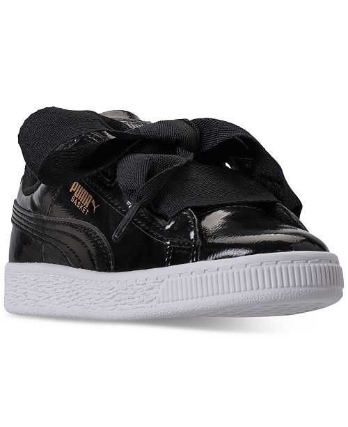 Puma Little Girls' Basket Heart Glam Casual Sneakers from