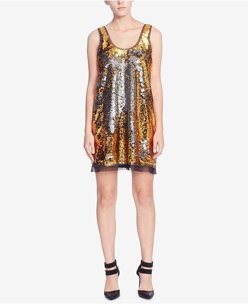 Catherine Malandrino Sequined Tulle-Trim Tank Dress
