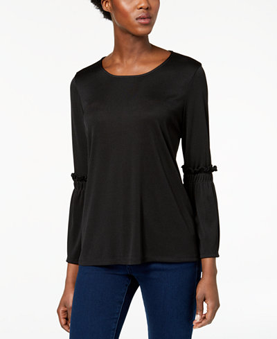 Alfani Petite Ribbed Bell-Sleeve Top, Created for Macy's