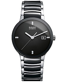 Rado Men's Swiss Automatic Centrix Diamond-Accent Stainless Steel & Black High-Tech Ceramic Bracelet Watch 38mm