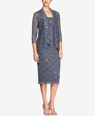 Alex Evenings Sequined Lace Jacket & Tea-Length Dress