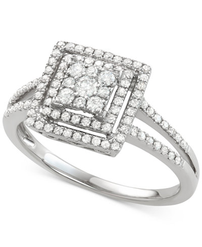 Diamond Square Halo Cluster Engagement Ring (1/2 ct. t.w.) in 14k White Gold