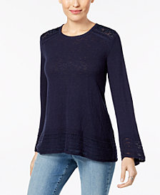 Style & Co Crocheted-Trim Sweater, Created for Macy's