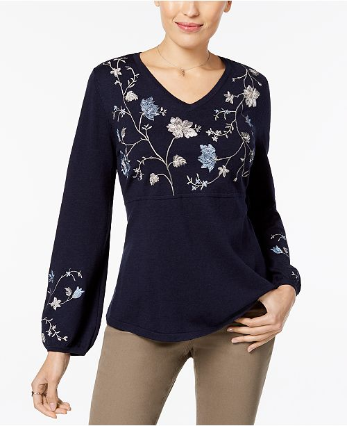 1a0d21af375 Style   Co Embroidered Sweater