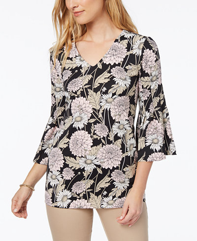 Charter Club Printed Bell-Sleeve Blouse, Created for Macy's