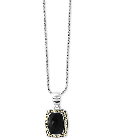 Eclipse by EFFY® Onyx (14 x 10mm) Pendant Necklace in Sterling Silver & 18k Gold