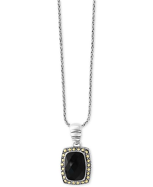 EFFY Collection Eclipse by EFFY® Onyx (14 x 10mm) Pendant Necklace in Sterling Silver & 18k Gold