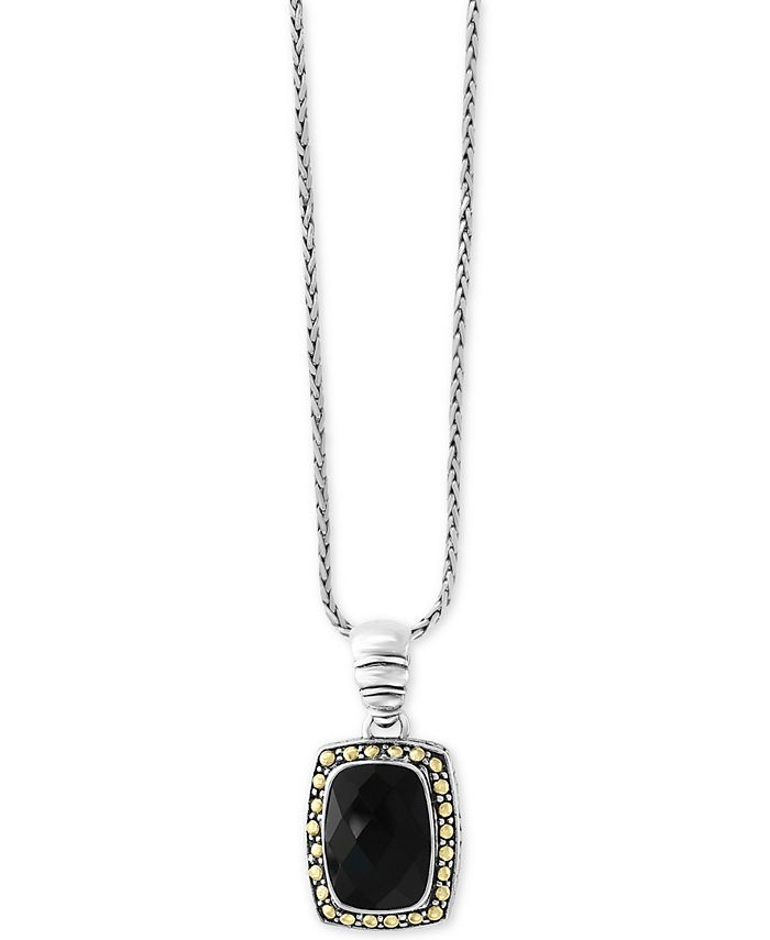 EFFY Collection - Onyx (14 x 10mm) Pendant Necklace in Sterling Silver & 18k Gold
