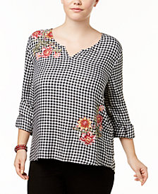 Style & Co Plus Size Embroidered Gingham Top, Created for Macy's