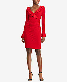 Lauren Ralph Lauren Ruffle-Trim Sheath Dress, Created for Macy's