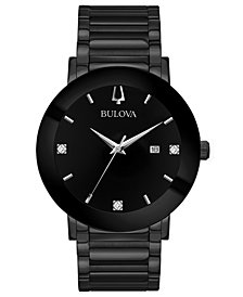 Bulova Men's Diamond-Accent Black Stainless Steel Bracelet Watch 42mm