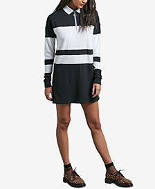 Volcom Juniors' Pique Boo Rugby-Striped Polo Dress
