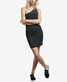 Volcom Juniors' Rappin One-Shoulder Mesh Bodycon Dress