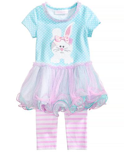 Bonnie Baby 2-Pc. Bunny Tutu Tunic & Striped Leggings Set, Baby Girls