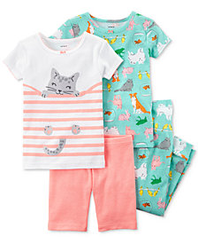 Carter's 4-Pc. Pet-Print Cotton Pajama Set, Baby Girls