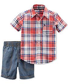 Carter's 2-Pc. Plaid Cotton Shirt & Chambray Shorts Set, Baby Boys