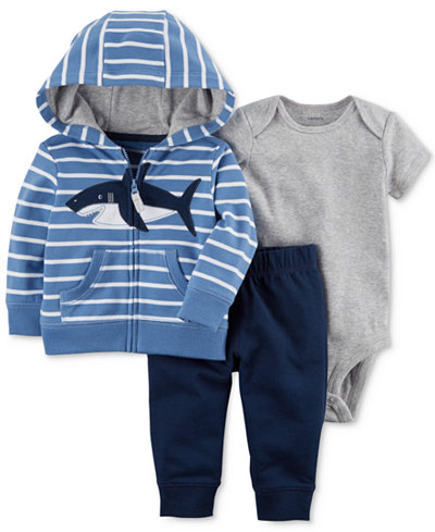 Carter's 3-Pc. Cotton Hoodie, Bodysuit & Pants Set, Baby Boys