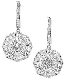 Cubic Zirconia Baguette Snowflake Drop Earrings in Sterling Silver