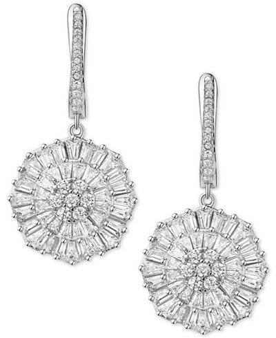 Cubic Zirconia Baguette Snowflake Drop Earrings in Sterling Silver