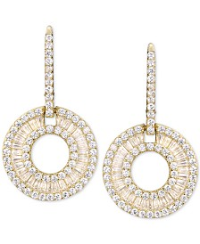 Cubic Zirconia Circle Drop Earrings in Sterling Silver
