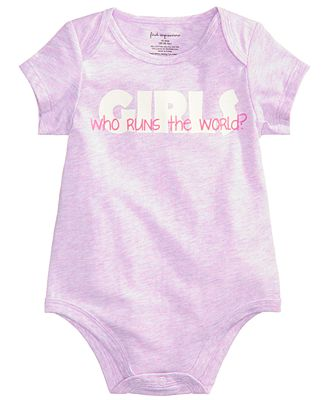 First Impressions Who Runs The World Bodysuit, Baby Girls, Created for Macy's