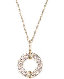 Cubic Zirconia Circle Pendant Necklace in Sterling Silver