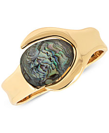 Robert Lee Morris Soho Gold-Tone Abalone Stone Bangle Bracelet