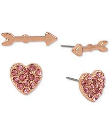 Betsey Johnson Rose Gold-Tone 2-Pc. Set Pink Stone Heart & Arrow Stud Earrings