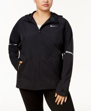 PLUS SIZE ZONAL AEROSHIELD HOODED RUNNING JACKET