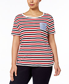 Tommy Hilfiger Plus Size Cotton Chambray-Pocket Striped Top, Created for Macy's