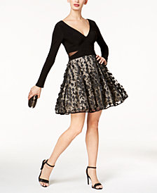 Xscape Petite Floral-Embellished Fit & Flare Dress