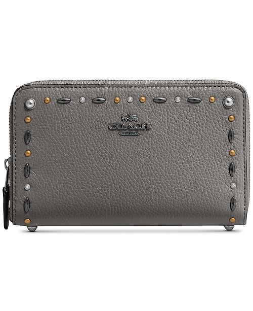 b7306ca4614b1 COACH Medium Zip Around Wallet with Prairie Rivets   Reviews ...